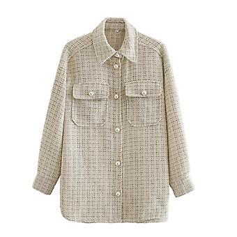 Dámské kostkované vzory Tlusté kabáty Bunda Pearl Buttons Dlouhé rukávy Pocket Coat