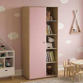 Neptune 1 Door 5 Shelf Wardrobe Two-tone, Pink & Oak