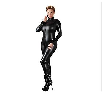 Sexy Women Leather Latex Jumpsuit Long Sleeve Zipper Skinny Pants Bodysuit