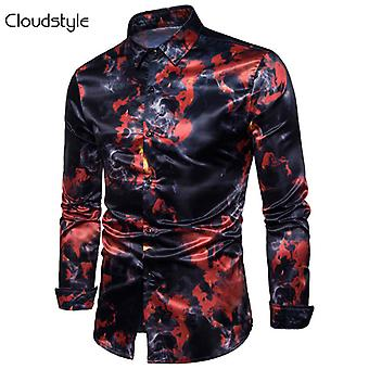 Yunyun Men's Flame Fashion 3d Printing Graphics Casual Fashion Long Sleeve Button Shirt