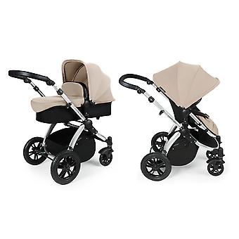 Ickle Bubba Stomp v3 2-in1 Pushchair and Carrycot - Sand with Silver Chassis