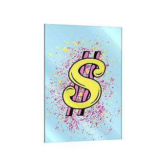 Impresión de vidrio azul claro en dólares