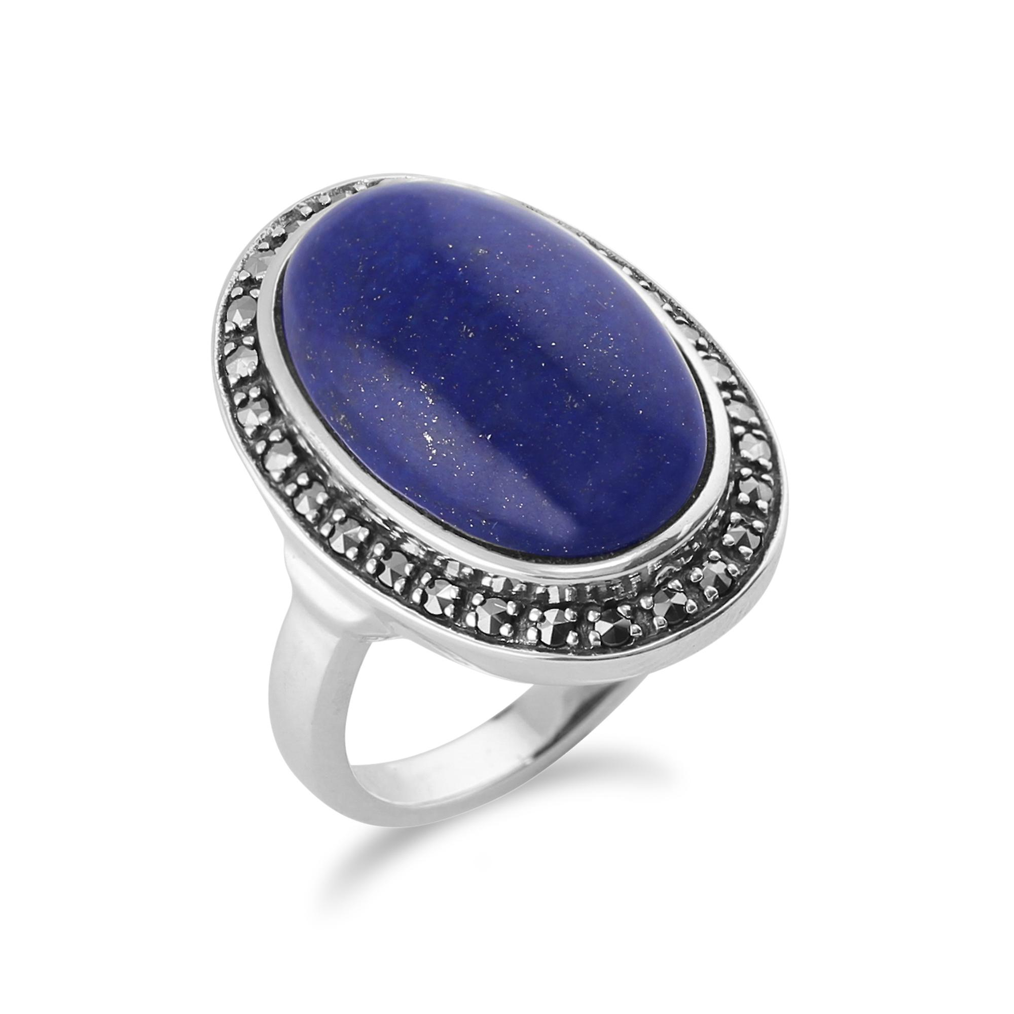 Lapis Lazuli Sparkling Marcasite Ring in 925 Sterling Silver