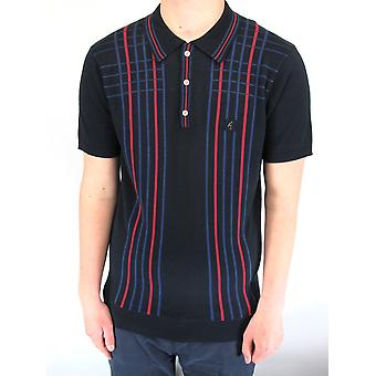 Bale Navy & Red Checked Stripe Knitted Polo Shirt