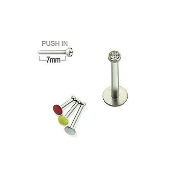 Gevindløs push-in labret 16g kirurgisk stål med tryk fit cz perle