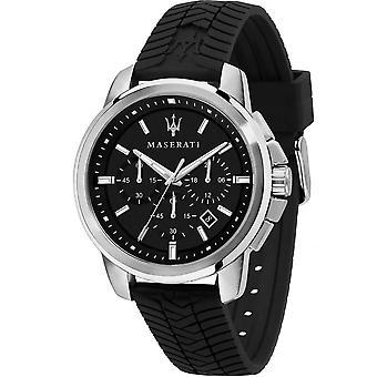 Maserati R8871621014 Men's Successo Chronograph Black Silicone Strap Wristwatch