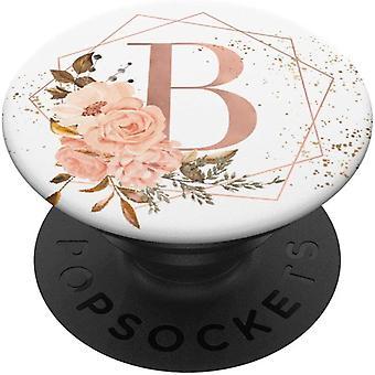 FengCh Pfirsichun Rose Rosa Blumen Aquarell Geschenk Buchstabe B PopSockets PopGrip: Ausziehbarer