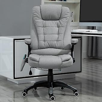 Vinsetto Massage Office Chair Recliner Ergonomic Gaming Heated Home Office Padded  Linen-Feel Fabric & Swivel Base Light Grey