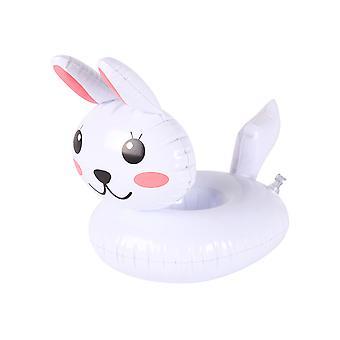 Vit kanin uppblåsbar dryckeshållare, dryck flyter uppblåsbara mugghållare för poolparty