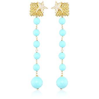 Misis Women-Earringshippocampus Silver 925 Zirconi White Agata 9 Cm - Or09198Bi, Turquoise