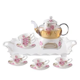 Flower Teapot Heat Resistant Bone China Warmer Green Flower Glass Teapot Set