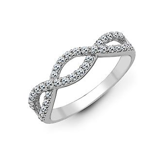 Jewelco London Solid 18ct White Gold Pave Set Round G SI1 0.39ct Diamond Crossover Wavy Wishbone Eternity Ring 5mm