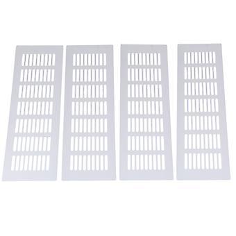 4pcs Alliage Louvre Grille Air Vent Ventilation Cover 8 x 30cm Argent