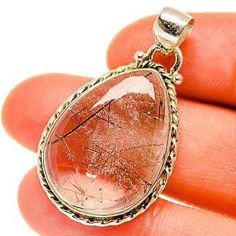 """Pingente de quartzo tourmalinado 1 1/2"""" (925 Sterling Silver) - Handmade Boho Vintage Jewely PD3200"""