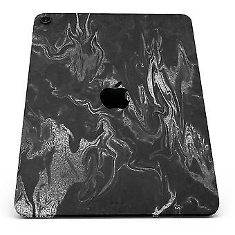 Black & Silver Marble Swirl V1 - Full Body Skin Decal For The Apple