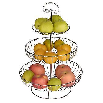 Rautainen kolmikerroksinen säilytyskori, hedelmälautanen, Keittiön kotikulho