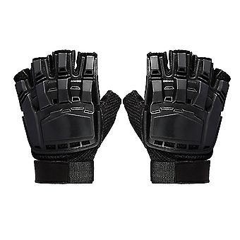 Špeciálne sily Taktické Half Finger Paintball rukavice nadané vonkajšie vybavenie deformované magická kože ochrana hviezda rukavice (čierna,m)
