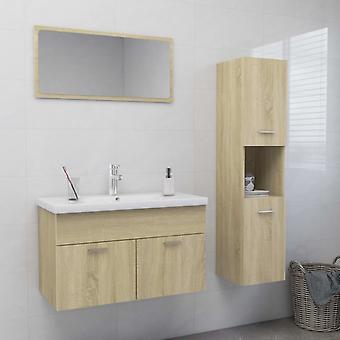 vidaXL meuble de salle de bain set sonoma-chêne plateau