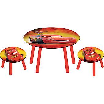 Katettu pöytä + 2 ulosteet Disney Pixarin Cars