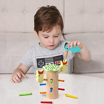 Woodpecker Catcher Catching Worms Game Magnetic Fishing Children Wooden ToysGift|Fishing Toys