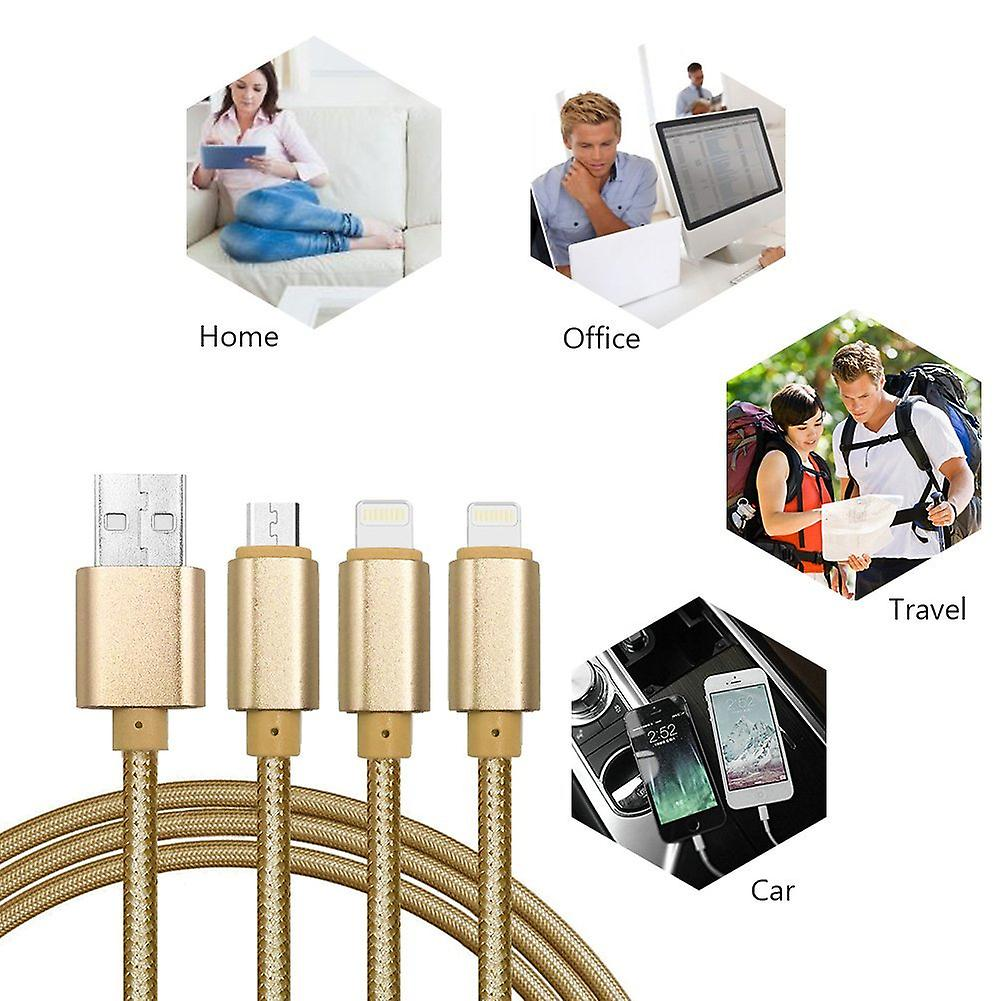 ONX3 (Gold) Premium Quality 1 Meter Length 3 in 1 Multiple USB Charging Cable High Speed Nylon Braided with Type C / 8 Pin Lighting / Micro USB Connector for Samsung Galaxy J7 Prime G610F