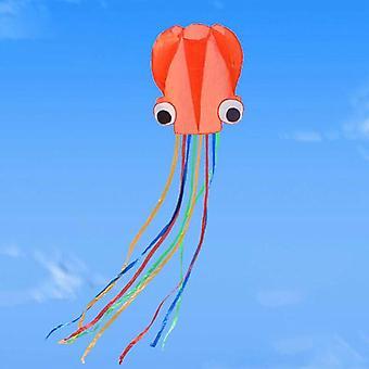 (Naranja) 30M String Line Octopus Kite Park Fines de semana Niños y adultos Fácil de volar Kite Fun