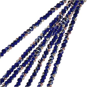 Crystal Beads, Faceted Rondelle 1.5x2.5mm, 2 Strands, Opaque Dark Sapphire w/Half Multi Color