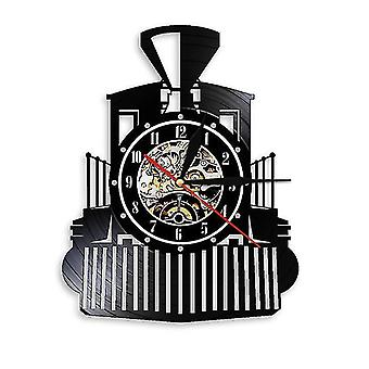 蒸気機関車ビニールレコードウォールクロック、レトロな家の装飾壁時計
