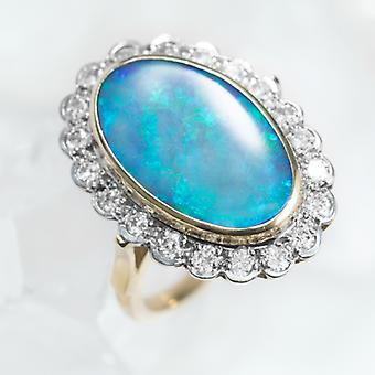 Shipton and Co Ladies Shipton And Co Exclusive 18ct Yellow Gold And Black Opal And Diamond Cluster Ring S07358BOD