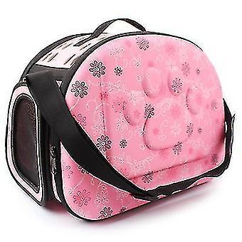 Udendørs bærbar kæledyr åndbar skuldertaske, folde rejse kat rygsæk (Pink)