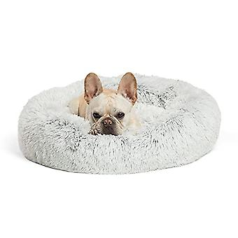 """The Original Calming Donut Cat And Dog Bed In Shag Fur, Machine Washable, For Pets Up To 25 Lbs. - Small 23""""x23"""" In Frost"""