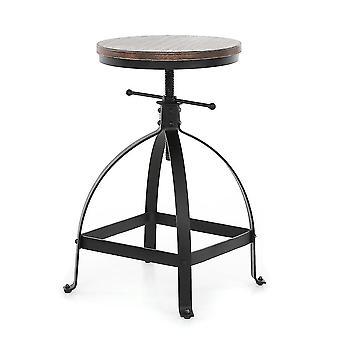 Adjustable Height Swivel Dining Breakfast Chair Natural Pinewood Topbar Stool
