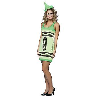 Crayola Screamin ' grön krita färg konstskola tank klänning Womens kostym 4-10