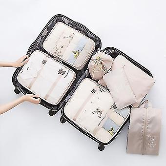 Packing organizers 7 piece set of luggage packing travel organizer cubes and pouches creamy-white
