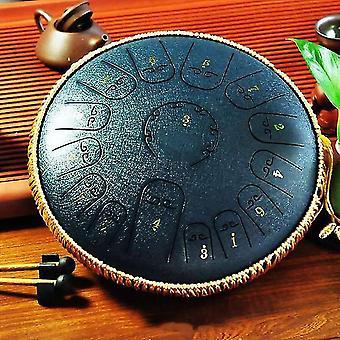 Tambour à langue en acier 15 note 14 pouces tambour de réservoir, tambour à percussion pour la méditation de yoga