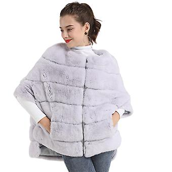 Mimigo Bat Sleeves Rex Rabbit Fur Coat With Zipper Real Genuine Fur Jacket Winter Coat For Women
