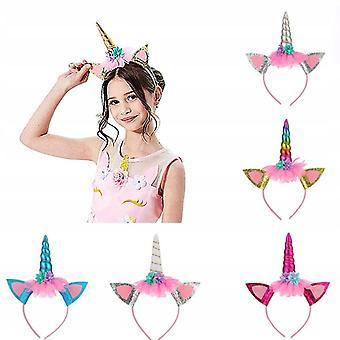 Unicorn Headband Hairpin decorare decoratiuni de Craciun Decorare Ziua de nastere Petrecere pălării 6 Pachete (aur + Culoare + Rose Red + Albastru + Alb + Argintiu)