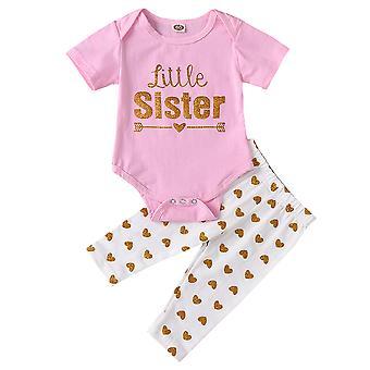 Kisgyermek Baby Kids Girl rövid ujjú Rompers nadrág set Alkalmi Outfit