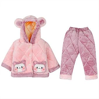 Flannel Pajamas Thickened Girls Quilted Pajamas Suit Girl Baby Cartoon Suit