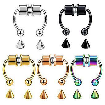Magnetisk Fake Nose Ring rustfrit stål faux falsk næse ring ikke-gennemboret klip på næsen Hoop Ringe