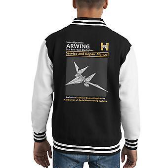 Star Fox Arwing Service And Repair Manual Kid's Varsity Jacket