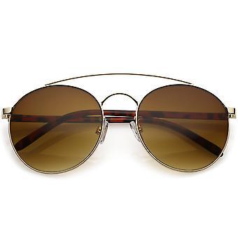 Moderno redondo aviador gafas de sol brazos gruesos curvado doble barra transversal 56mm