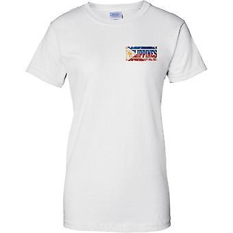 Filippiinit Grunge maan nimi lippu vaikutus - hyvät rinnassa Design t-paita