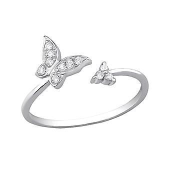 Åbn Butterfly - 925 Sterling sølv Jewelled ringe - W30548X