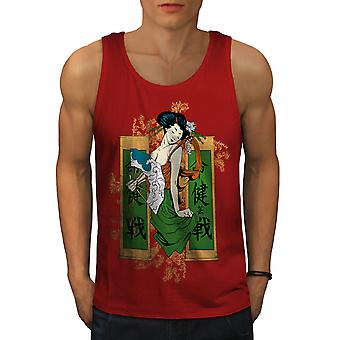 Japanese Girl Men RedTank Top | Wellcoda