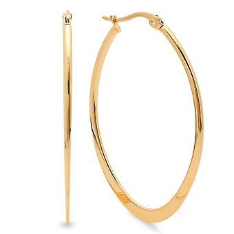 Ladies 18K Gold Plated Oval Teardrop Flat End Hoop Earrings