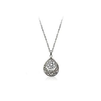 Bridal Heart Silver White Teardrop Necklace