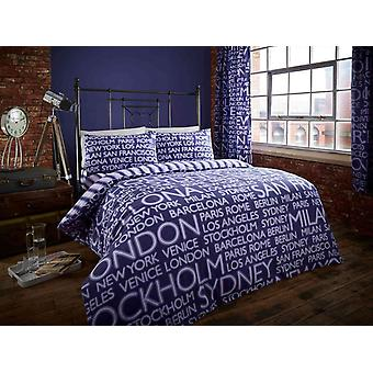 Neon Cities Duvet Cover Set