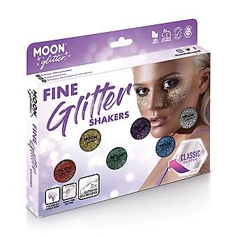 Fine Glitter Shakers by Moon Glitter – 100% Cosmetic Glitter for Face, Body, Nails, Hair and Lips - 5g - Boxset
