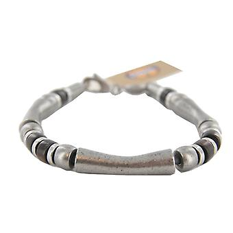 Fossil heren armband roestvrij staal hout bruin vintage look JF87221